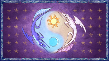 Celestia and Luna form a Yin and Yang-like symbol S1E01