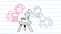 Drawing of Pinkie looking at Maud Pie making rock candy S4E18.png