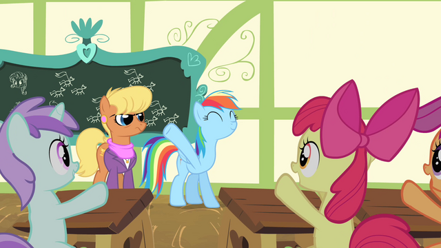 File:Fillies cheering for Rainbow Dash S4E05.png