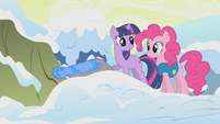 Pinkie Pie and Twilight looking at lake map S1E11