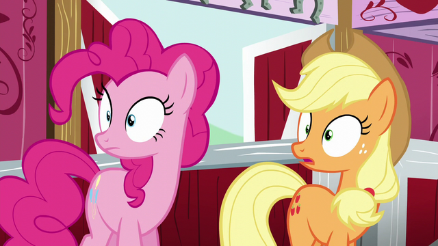 File:Pinkie and AJ hears Rutherford's loud voice S5E11.png