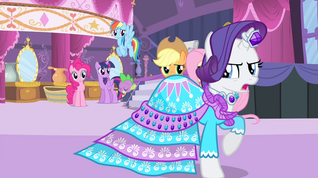 File:Rarity's friends see Rarity walking S4E13.png