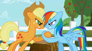 Applejack and Rainbow Dash hoof wrestling S1E03.png