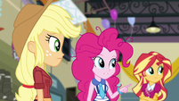 Pinkie pointing to where she saw Twilight last EG3