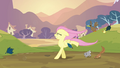 Fluttershy walking on her two front legs S2E22.png
