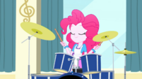 Pinkie Pie sitting in front of her drum set SS10
