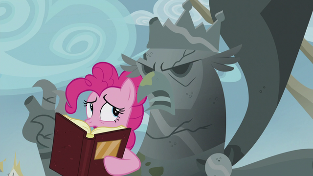 File:Pinkie removes the book off of the King Grover statue's face S5E8.png