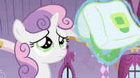 Saddlebag being shown to Sweetie Belle S2E23