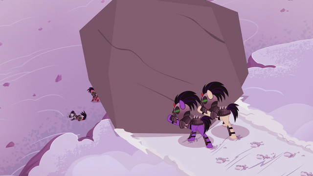 File:Crystal Ponies push giant boulder over a cliff S5E25.png