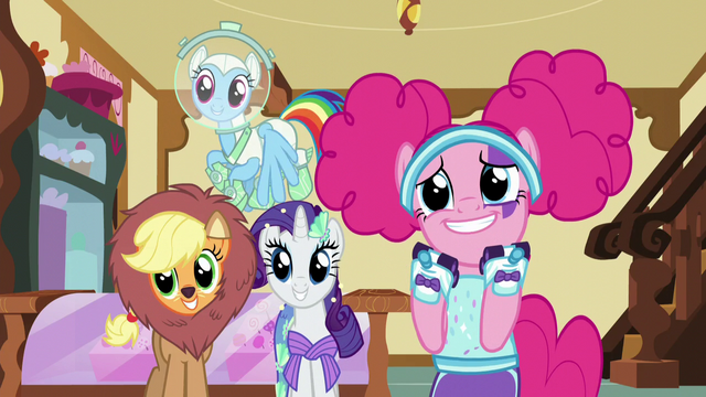File:Main ponies excited for Fluttershy S5E21.png