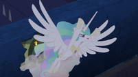 Princess Celestia escaping through roof 2 S4E02