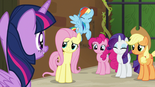 File:Twilight Sparkle's friends smiling at her S7E2.png