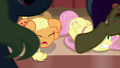 Applejack shouting at Flim and Flam as ponies stampede S6E20.png