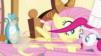 Pinkie Pie pulling Fluttershy S4E18