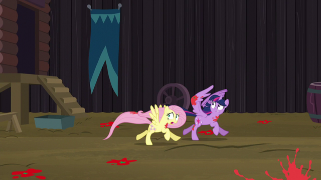 File:Twilight and Fluttershy run away from falling tomatoes S5E23.png