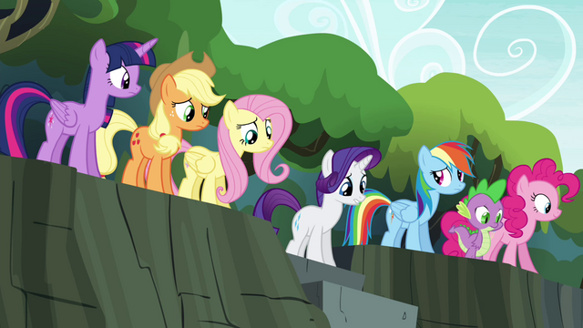 File:Mane 6 and Spike at the top of stairs S4E25.png