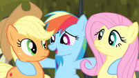 Rainbow Dash between Applejack and Fluttershy S4E07