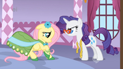 Rarity asking Fluttershy about the dress S1E14.png