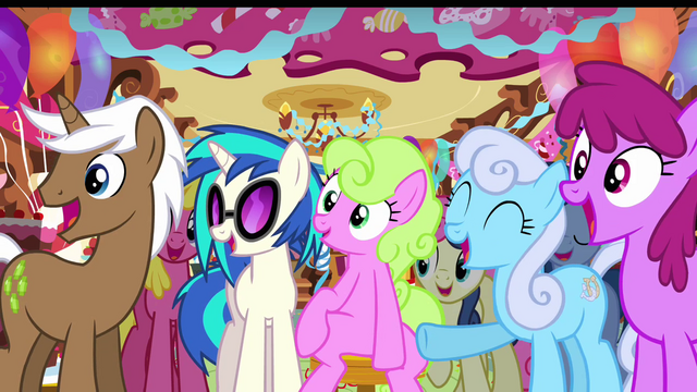 File:DJ Pon-3 and ponies laughing S03E13.png