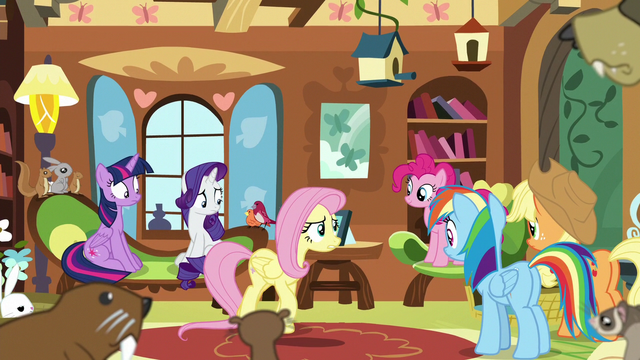 File:Mane Six gather in Fluttershy's cottage S7E5.png