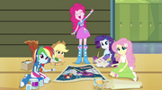Pinkie Pie and friends call Sunset over EG2