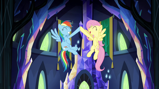 File:Rainbow and Fluttershy mid-air hoof bump S4E26.png