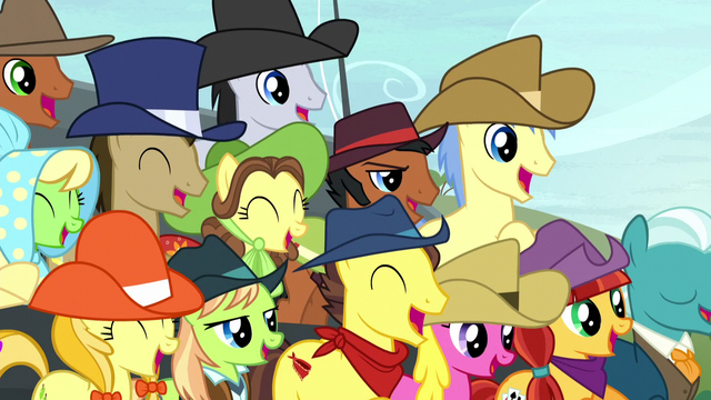 File:Spectator ponies cheering S5E6.png