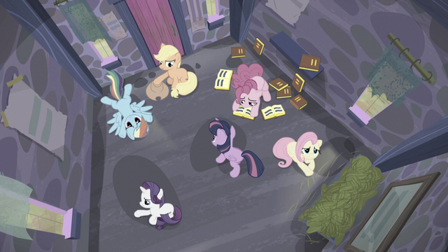 File:Twilight pacing around while her friends sit in the house S5E02.png