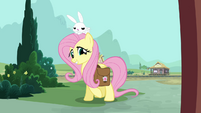 Fluttershy and Angel at the front door S03E11