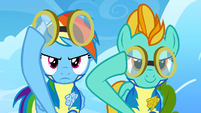 Lightning Dust and Rainbow Dash determined and about to put goggles on S3E7