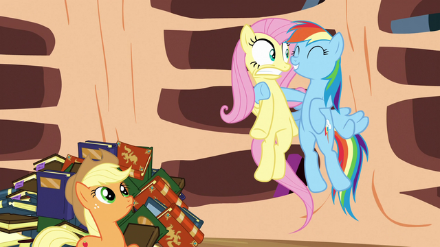 File:Rainbow Dash tries to encourage Fluttershy S3E05.png