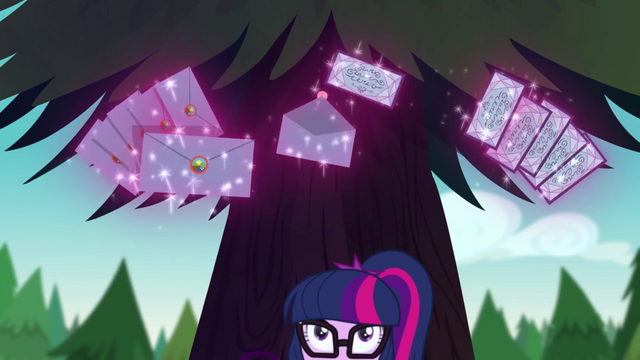 File:Twilight using her magic to mail invitations EG4.png