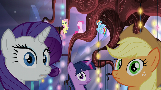 File:Mane Six hear Cadance and Shining Armor S5E19.png
