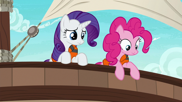File:Rarity and Pinkie look over side of the ship S6E22.png