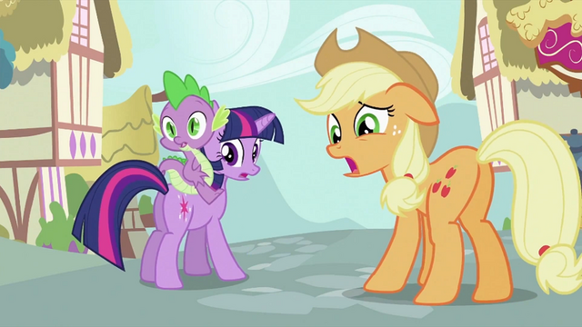 File:Twilight, Spike and Applejack looking behind S2E06.png