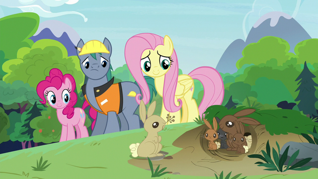 File:Fluttershy, Pinkie, and Hard Hat observing rabbits S7E5.png