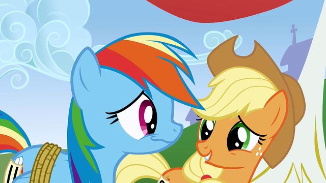 File:Rainbow Applejack chuckling S01E13.png
