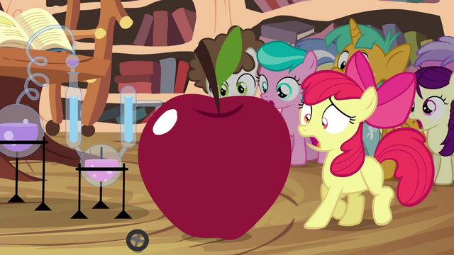 File:Apple Bloom next to growing apple S4E15.png