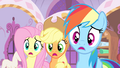 Fluttershy, AJ and Rainbow confused S4E19.png