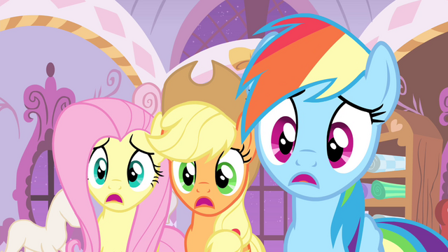 File:Fluttershy, AJ and Rainbow confused S4E19.png
