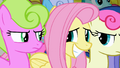 Fluttershy awkwardly smiling at Daisy and Sweetie Drops S2E19.png