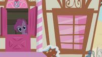 Pinkie Pie beckoning Twilight S1E9