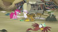 Pinkie and Gilda sees Greta on the ground S5E8