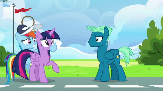 File:Rainbow Dash plugs Twilight's muzzle S6E24.png
