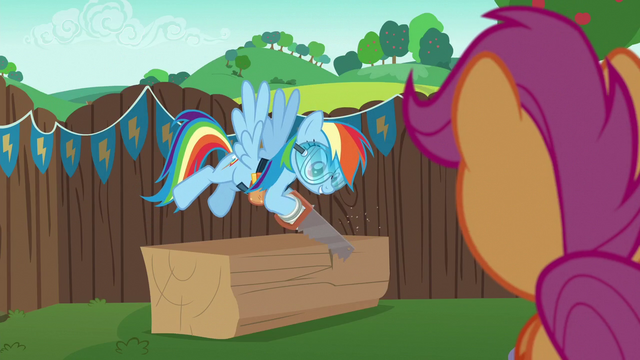 File:Rainbow Dash sawing a block of wood S6E14.png
