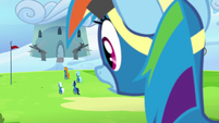Rainbow Dash watches the Wonderbolts leave S7E7