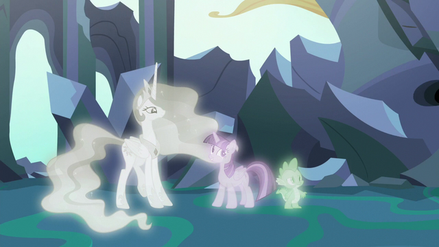 File:Twilight, Celestia, and Spike in the first simulation S7E1.png