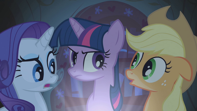 File:Applejack, Rarity, and Twilight telling stories S1E8.png