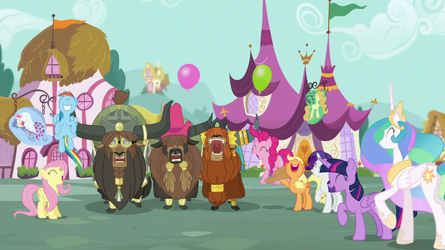 File:Ponies and yaks cheering S5E11.png