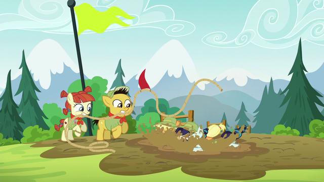File:Applejack and Rara slip into mud S5E24.png